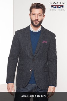 Signature Herringbone Tailored Fit Harris Tweed Jacket