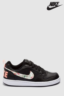 Nike Black/Floral Court Borough Youth Trainers