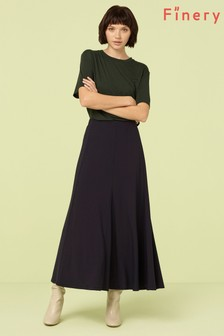 Finery London Blue/Navy Roxley Crepe Midi Skirt