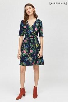 Warehouse Blue Verity Floral Wrap Dress