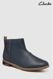 Clarks Navy Combi Leather Glitter Junior Ankle Boot