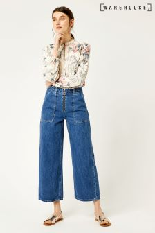 Warehouse Dark Wash Zip Front Wide Leg Jean