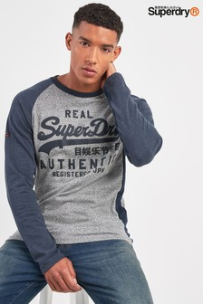 Superdry Script Logo Raglan Long Sleeve Top