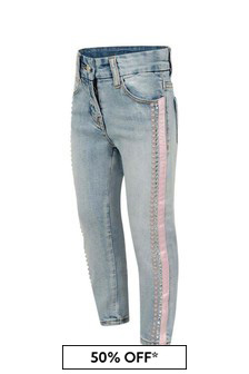 Girls Blue And Pink Trim Studded Jeans