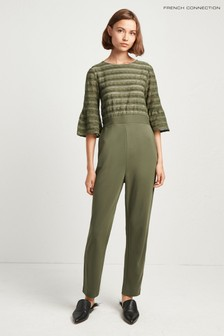 French Connection Green Vallis Jersey Sleeve Jumpsuit