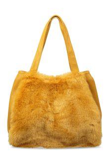 Oliver Bonas Yellow Karine Patchwork Faux Fur Tote Bag