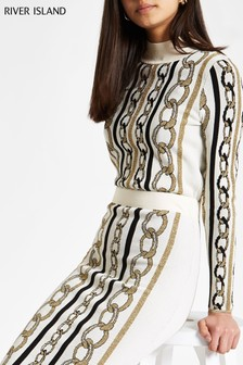 River Island Cream Chain Print Jumper