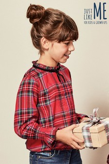 Girls Tartan High Neck Check Shirt (3-16yrs)