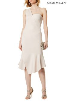 Karen Millen Natural One Shoulder Drape Dress