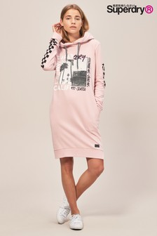 Superdry Pink Hoody Sweat Dress