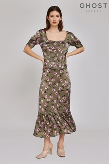Ghost London Green Laurel Floral Printed Satin Skirt