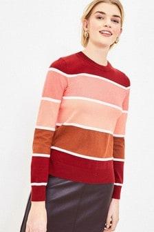 Oasis Red Block Stripe Jumper