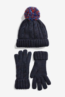 Bobble Hat And Gloves Set