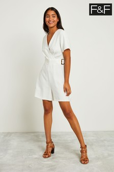 F&F White Ring Detail Playsuit