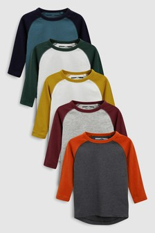 Long Sleeve Raglan T-Shirts Five Pack (3mths-6yrs)