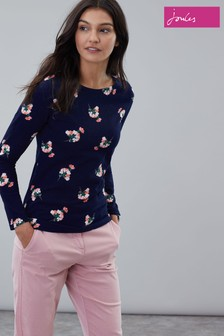 Joules Blue Harbour Print Long Sleeve Jersey Top
