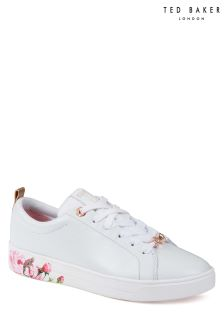 Ted Baker White Leather Luocil Floral Sole Print Sneaker