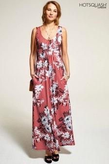 HotSquash Pinstriped Sleeveless Empire Line Maxi Dress