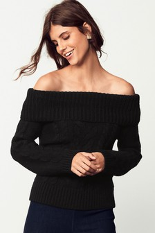 Cable Bardot Sweater