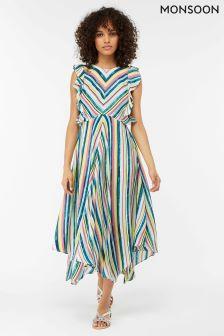 Monsoon Cream Kandi Soft Stripe Midi Dress