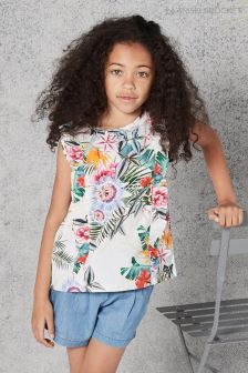 Angel And Rocket White Floral Printed Top