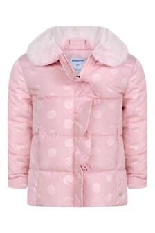 Baby Girls Pink Polka Dot Padded Jacket