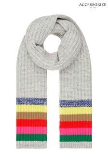 Accessorize Grey Rainbow Stripe Scarf