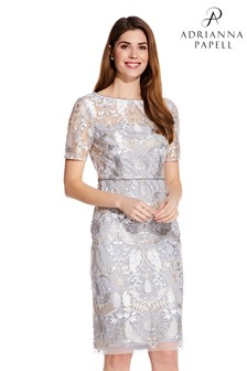 Adrianna Papell Silver Embroidered Dress With Pearls