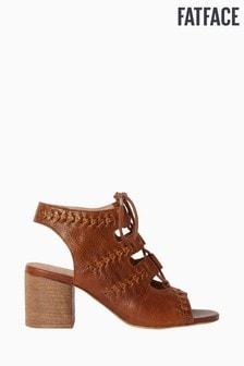 FatFace Tan Lois Lace Block Heel Sandal