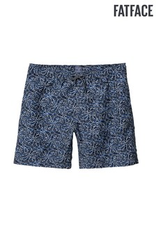 FatFace Blue Polzeath Shark Print Swim Short