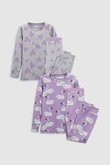 Swan/Heart Snuggle Pyjamas Two Pack (3-16yrs)