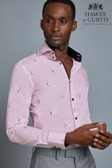 Hawes & Curtis Mens Pink Bird Embroidered Shirt