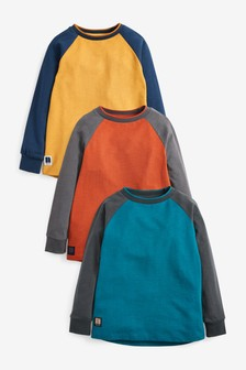 3 Pack Long Sleeve Raglan T-Shirts (3-16yrs)