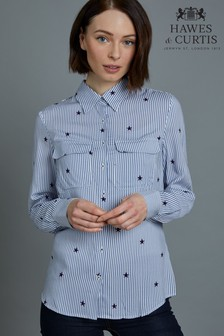 Hawes & Curtis Blue Stripe With Stars Print Fit Shirt