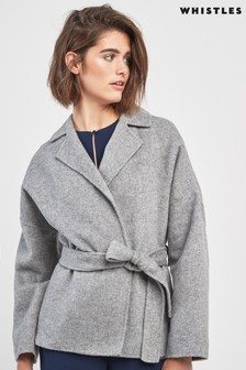 Whistles Grey Belted Short Wrap Coat