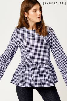 Warehouse Navy Gingham Smock Top