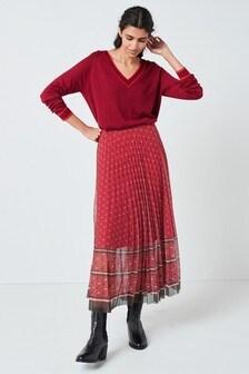 Mesh Pleat Midi Skirt