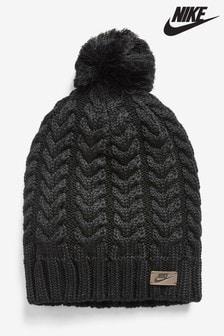Czarna czapka z pomponem Nike Sportwear