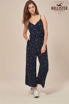 62ea9d2c458f Hollister Blue Floral Print Wrap Front Jumpsuit