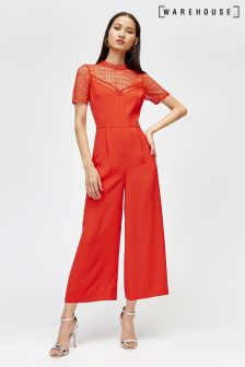 Warehouse Red Crepe And Lace Culotte Jumpsuit