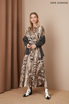 Платье-рубашка миди со змеиным принтом Sofie Schnoor