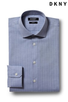 DKNY Slim Fit Navy Single Cuff Herringbone Shirt