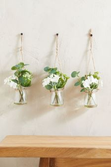 Set of 3 White Floral Hanging Jars