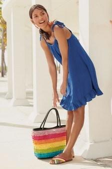Короткое платье с оборкой по низу