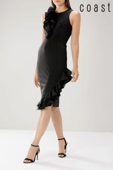 Coast Black Rosalie Ruffle Shift Dress