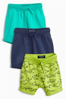 All Over Print Shark Shorts Three Pack (3mths-6yrs)