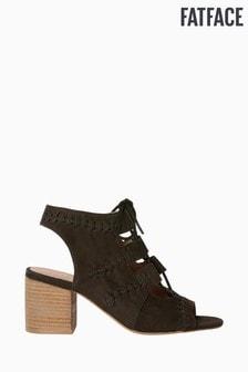 FatFace Black Lois Lace Block Heel Sandal