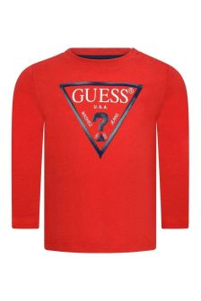 Baby Boys Red Cotton Long Sleeve T-Shirt