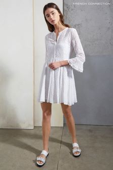 French Connection White Derna Drape Fluted Dress