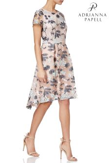 Adrianna Papell Abigail Embroidered Mesh HighLow Dress